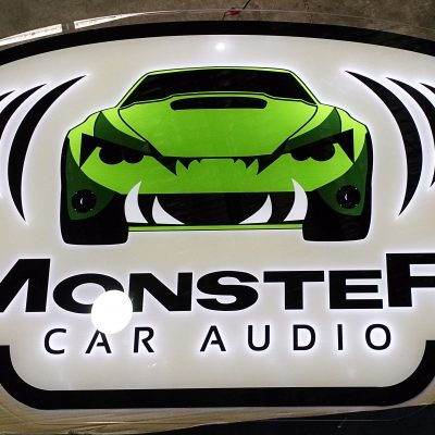 Image of custom made trade show signage for Monster Care Audio by Image Plastics