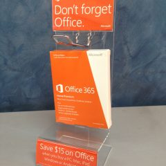 Image of POS Point of Sale acrylic stand for MS Office 365 made by Image Plastics