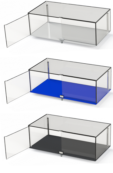 Image of custom designed display cases by Image Plastics in 3 colours