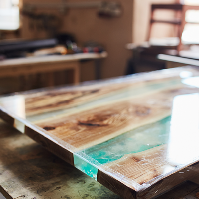Stock image of creative table with acrylic top